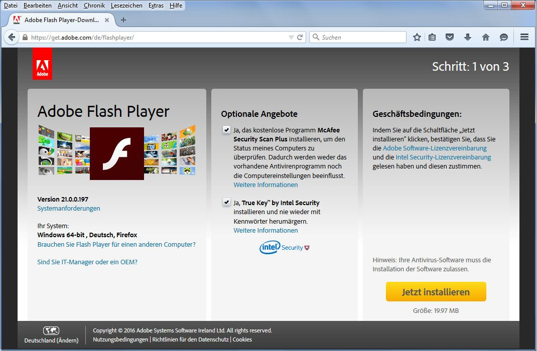 Flashplayer Webseite